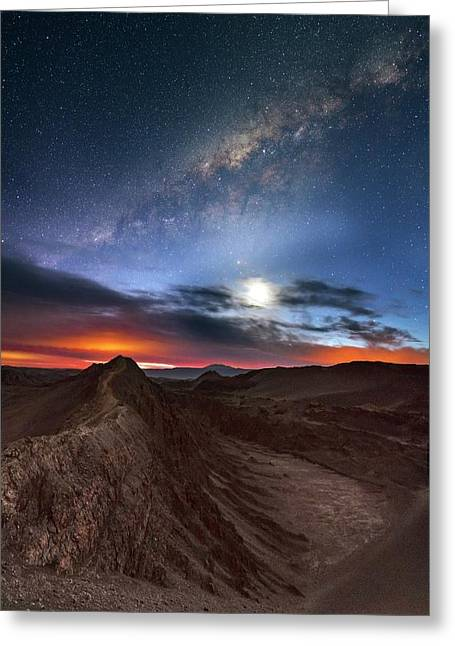 Twilight Over Valle De La Luna Greeting Card by Babak Tafreshi