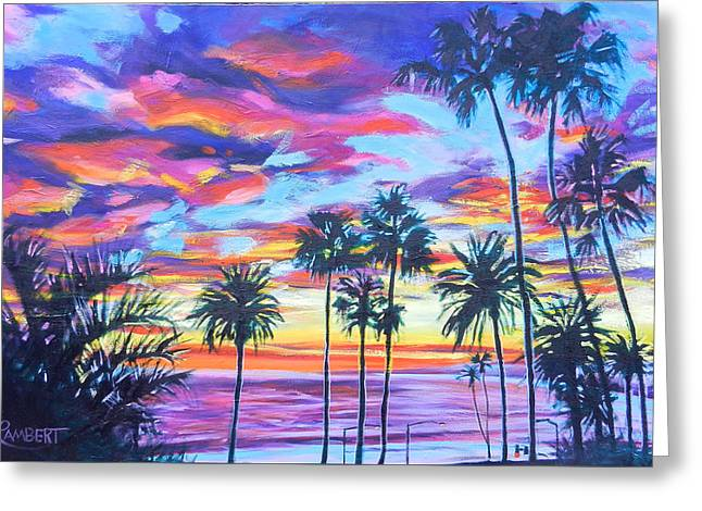 Twilight Palms Greeting Card