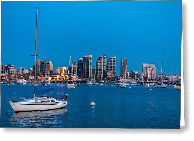 Twilight Sailboat San Diego Harbor Greeting Card