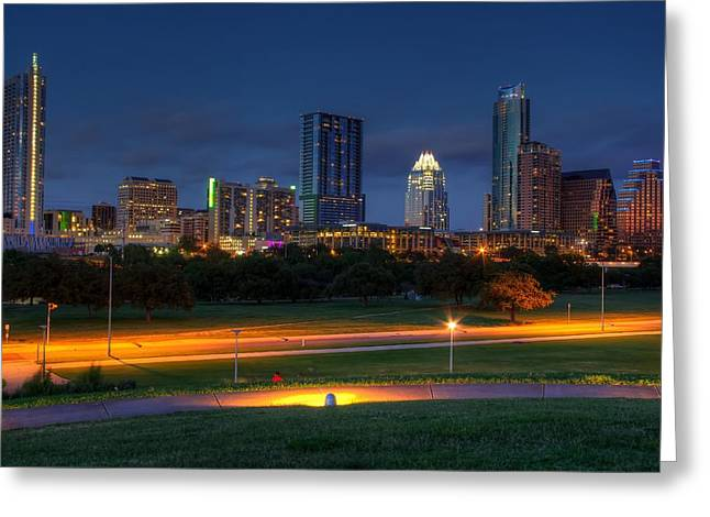 Greeting Card featuring the photograph Twilight Skyline by Dave Files