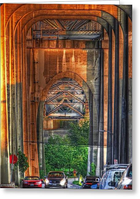 Twilight Under A Fremont Bridge Greeting Card by Chris Anderson