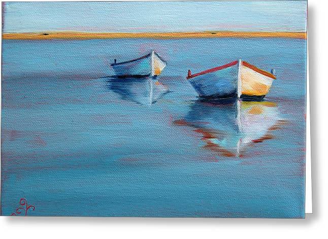 Twin Boats II Greeting Card by Trina Teele