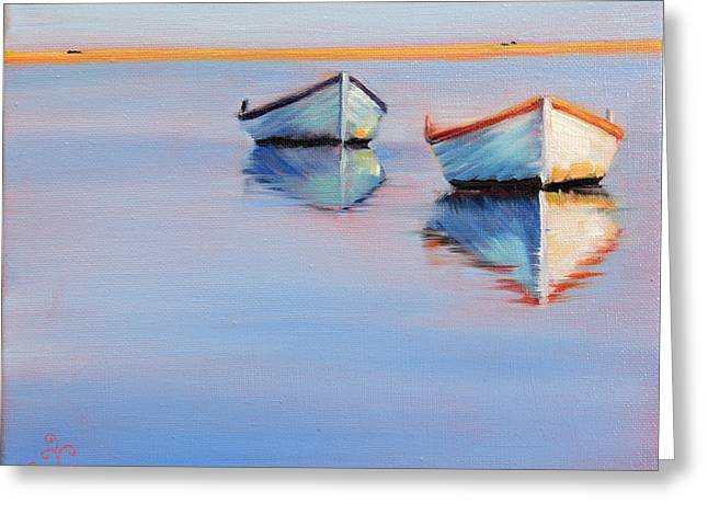 Twin Boats Greeting Card by Trina Teele