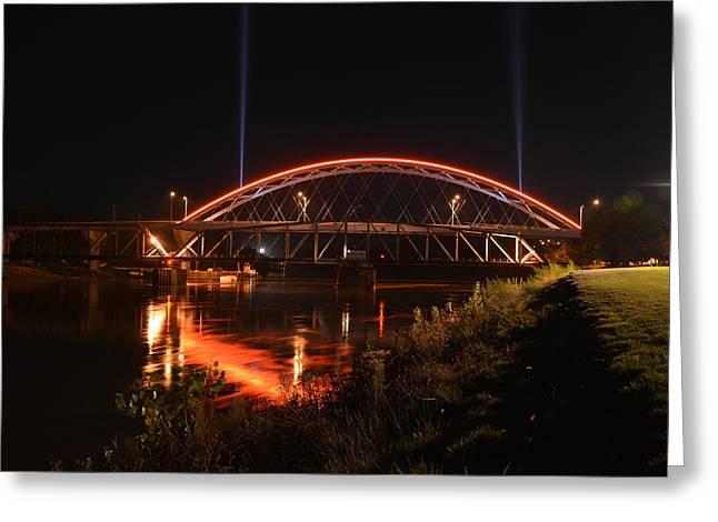 Twin Bridges At Night Greeting Card
