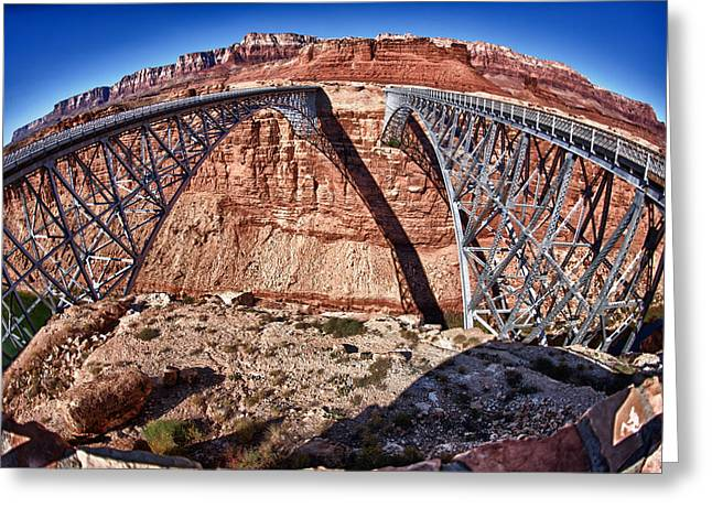 Twin Bridges Greeting Card by Juan Carlos Diaz Parra