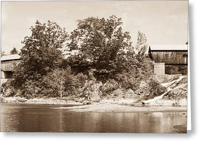 Twin Bridges North Hartland Vermont Sepia Greeting Card by Edward Fielding