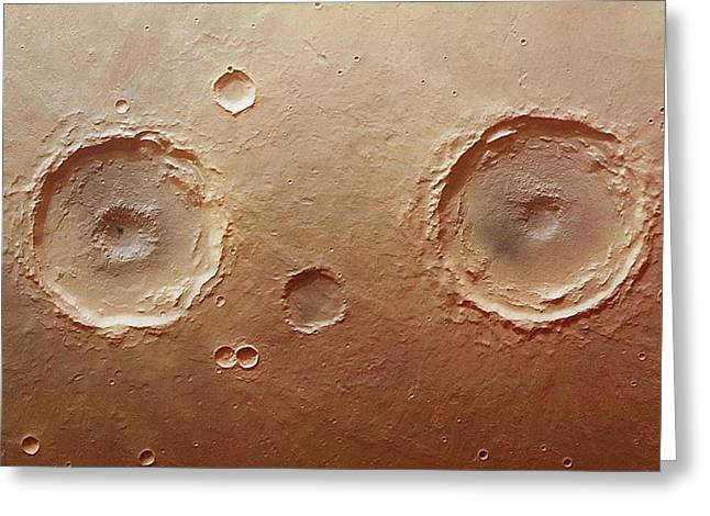 Twin Craters Greeting Card by Dlr/fu Berlin (g. Neukum)/european Space Agency