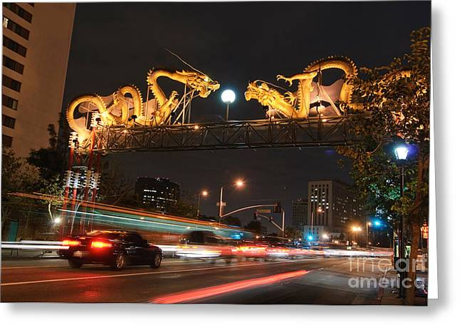 Twin Dragon Gate - Entrance To Los Angeles Chinatown With Streaking Lights Greeting Card