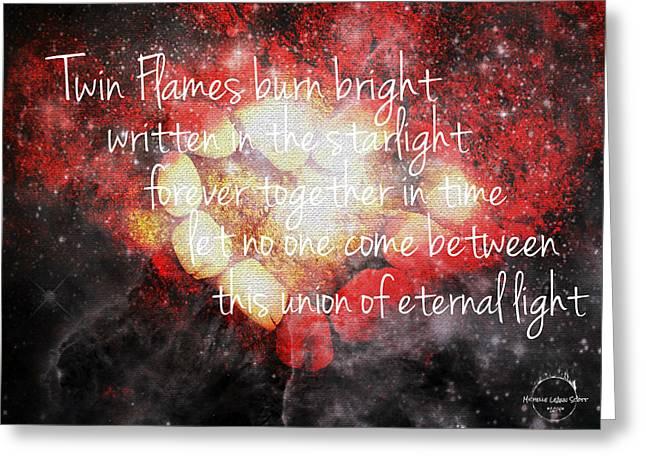 Twin Flames Greeting Card by Absinthe Art By Michelle LeAnn Scott