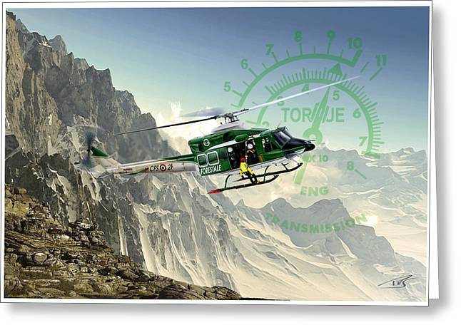 Twin Huey Greeting Card by Peter Van Stigt