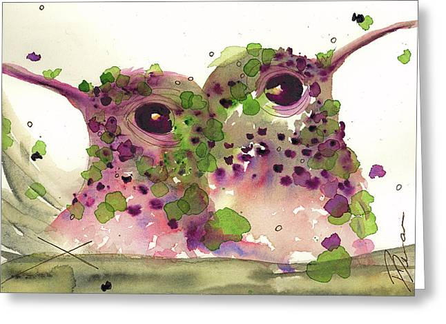 Twin Hummers Greeting Card by Dawn Derman