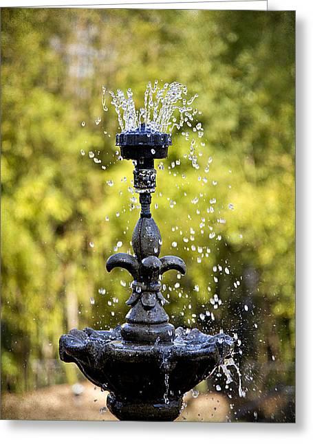 Twin Oaks Garden Fountain Greeting Card