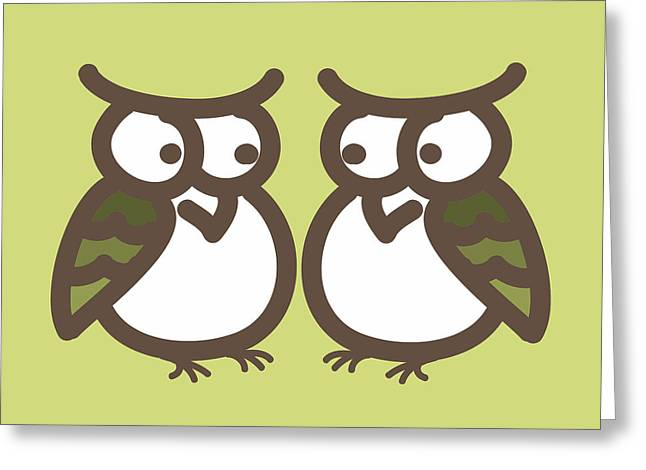 Twin Owl Babies- Nursery Wall Art Greeting Card by Nursery Art