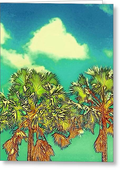 Twin Palms With Aqua Sky - Vertical Greeting Card