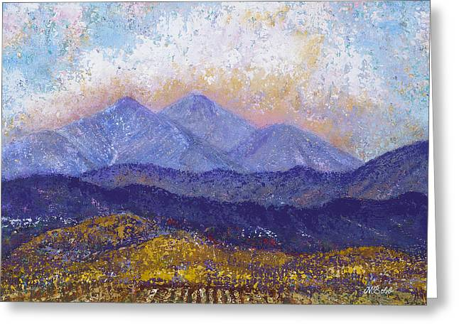Greeting Card featuring the painting Twin Peaks Above The Fruited Plain by Margaret Bobb