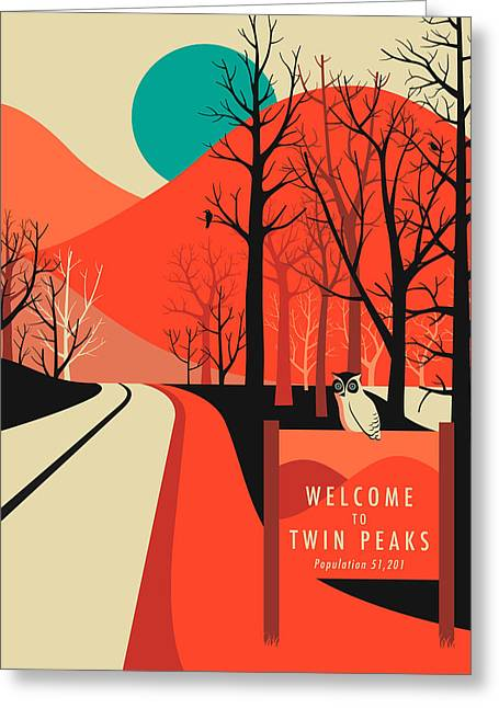 Twin Peaks Travel Poster Greeting Card by Jazzberry Blue