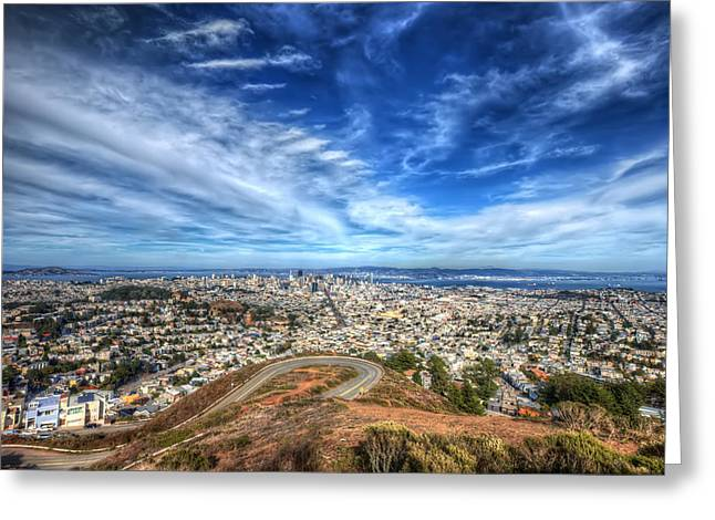 Twin Peaks View Of San Francisco 2 Greeting Card by Jennifer Rondinelli Reilly - Fine Art Photography