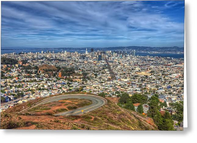 Twin Peaks View Of San Francisco 4 Greeting Card by Jennifer Rondinelli Reilly - Fine Art Photography
