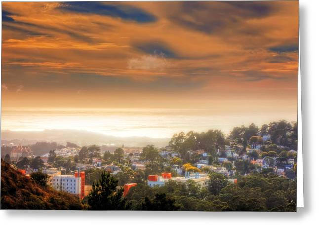Twin Peaks View Of San Francisco 5 Greeting Card by Jennifer Rondinelli Reilly - Fine Art Photography
