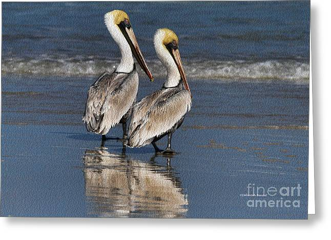 Twin Pelicans Greeting Card by Deborah Benoit