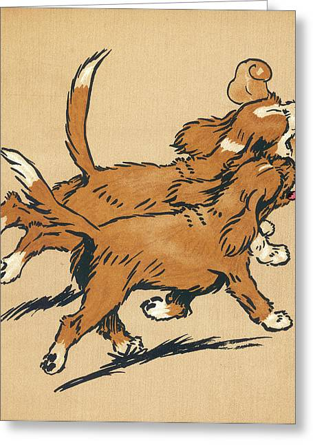 Twin Puppies, Snip And Snap, Head Home Greeting Card