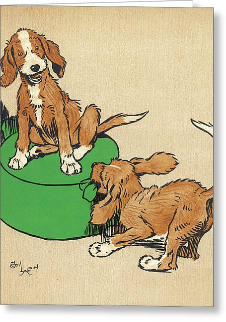 Twin Puppies, Snip And Snap, Quarrel Greeting Card