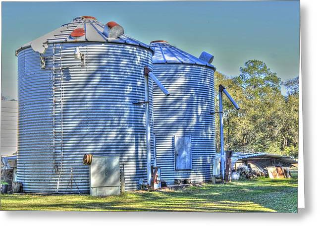 Twin Silos Greeting Card