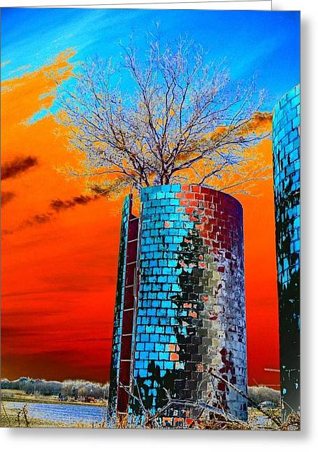 Greeting Card featuring the photograph Twin Silos by Karen Newell