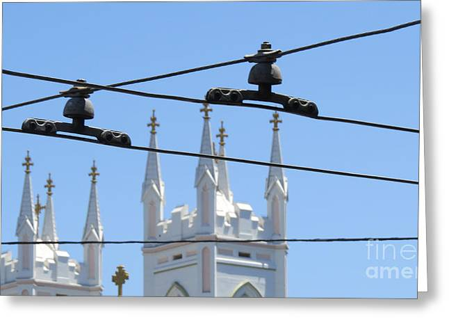 Twin Spires And Trolley Lines Greeting Card by Mary Mikawoz