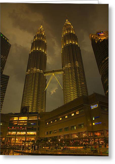 Twin Towers Of Kl Greeting Card by Bill Cubitt