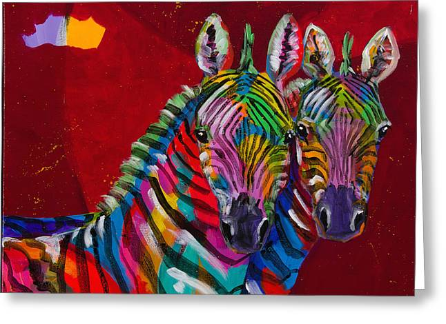 Twin Zebras Greeting Card by Tracy Miller