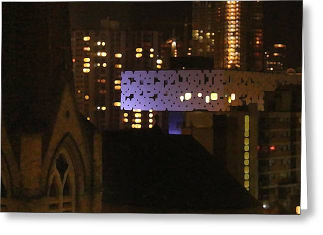 Twinkling City Greeting Card by Yvonne Wright