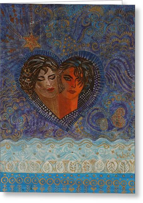 Twinsouls, 2007 Mixed Media Greeting Card