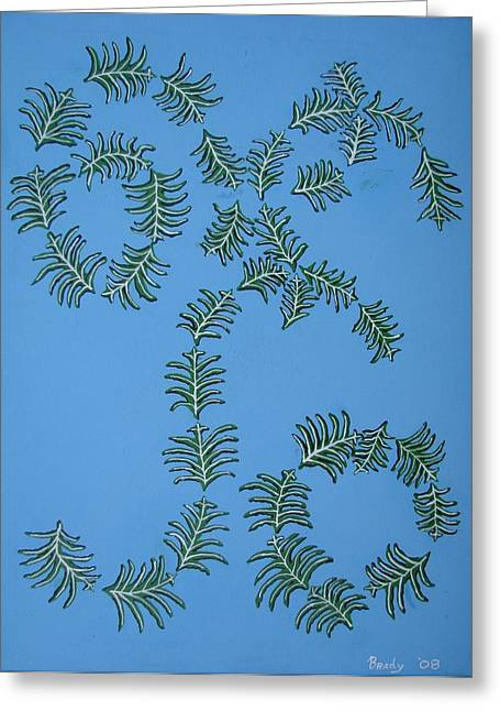 Greeting Card featuring the painting Twirling Leafs by Brady Harness