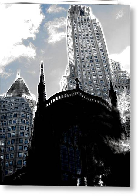 Twisted City Greeting Card by Mark J Dunn
