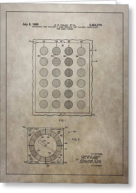 Twister Gameboard Patent Greeting Card by Dan Sproul