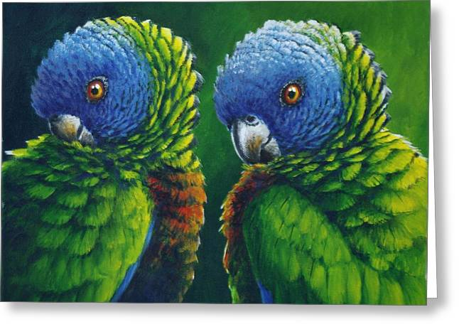 Two - St Lucia Parrots Greeting Card by Christopher Cox