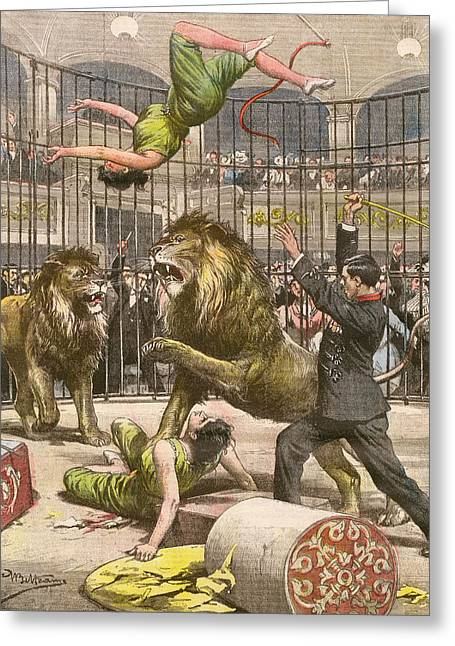 Two Acrobats Fall Into The  Lions' Greeting Card by Mary Evans Picture Library