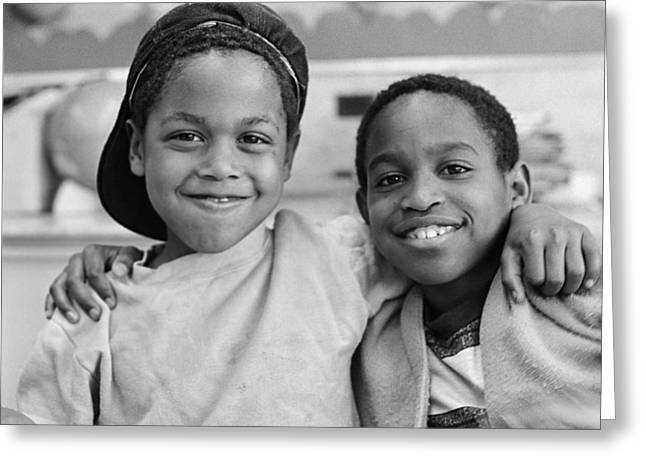 Two African American Boys Smiling Greeting Card