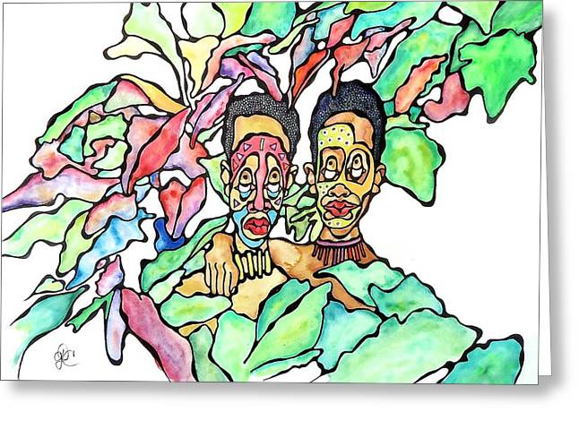 Two African Men In Leaves Greeting Card by Glenn Calloway