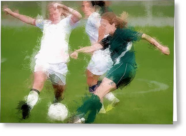 Two Against One Expressionist Soccer Battle  Greeting Card by Elaine Plesser