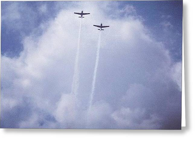 Two Airplanes Flying Greeting Card