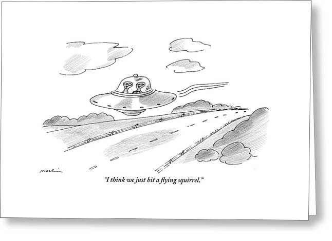 Two Aliens Fly A Saucer Down A Highway Greeting Card