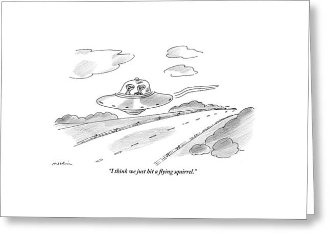 Two Aliens Fly A Saucer Down A Highway Greeting Card by Michael Maslin