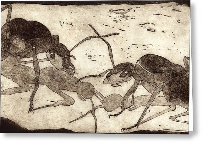 Two Ants In Communication - Etching Greeting Card