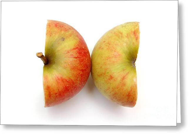 Two Apple Halves Greeting Card by Michal Bednarek