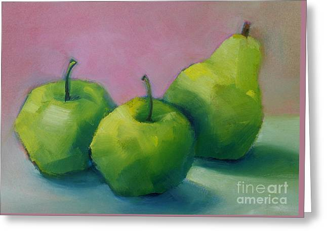 Two Apples And One Pear Greeting Card by Michelle Abrams