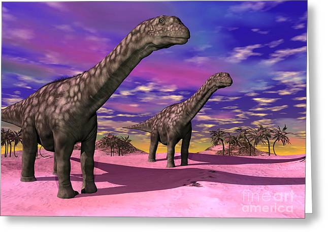 Two Argentinosaurus Dinosaurs Greeting Card