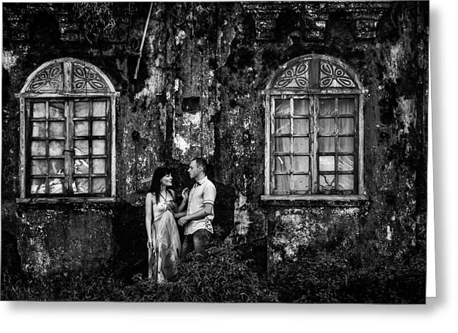 Two At The Old Wall 1. Margao. India Greeting Card by Jenny Rainbow