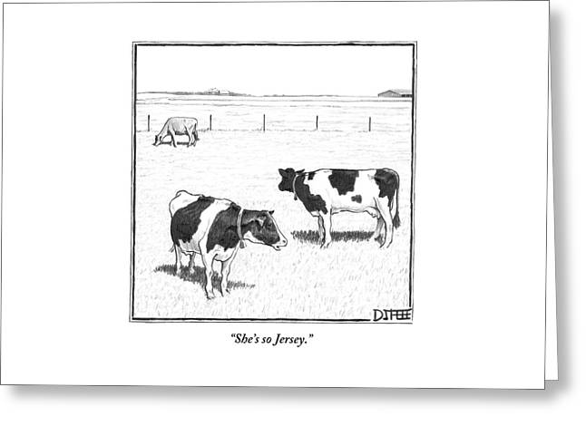 Two Spotted Cows Looking At A Jersey Cow Greeting Card